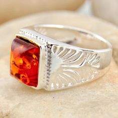 3.14cts natural orange baltic amber 925 silver solitaire ring size 7.5 r11982