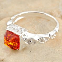 1.30cts natural orange baltic amber 925 silver solitaire ring size 7.5 r11984