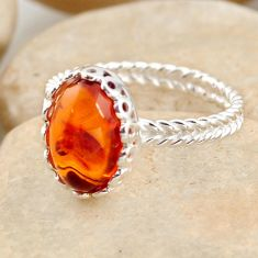 2.90cts natural orange baltic amber 925 silver solitaire ring size 7.5 r11989