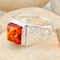 3.38cts natural orange baltic amber 925 silver solitaire ring size 9.5 r11990