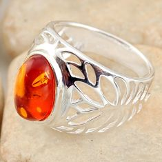 925 silver 3.15cts natural orange baltic amber solitaire ring size 6.5 r11991