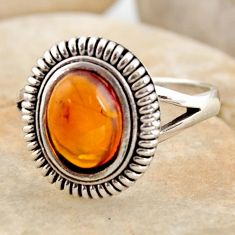 2.23cts natural orange baltic amber 925 silver solitaire ring size 8 r11994