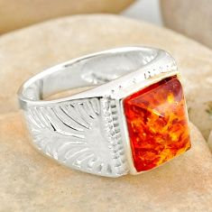 2.81cts natural orange baltic amber 925 silver solitaire ring size 7 r12000