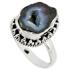 6.03cts natural brown geode druzy 925 silver solitaire ring size 8.5 r12102