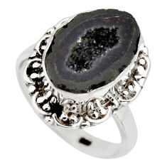 6.36cts natural brown geode druzy 925 silver solitaire ring size 7.5 r12103