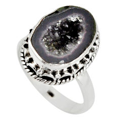 925 silver 6.58cts natural brown geode druzy solitaire ring size 7.5 r12104