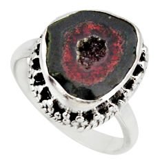 6.78cts natural brown geode druzy 925 silver solitaire ring size 8 r12105