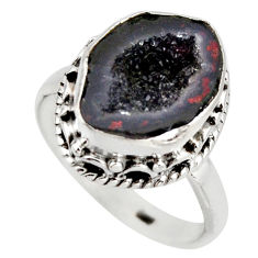925 silver 6.32cts natural brown geode druzy fancy solitaire ring size 8 r12108