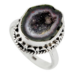6.31cts natural brown geode druzy 925 silver solitaire ring size 7 r12113