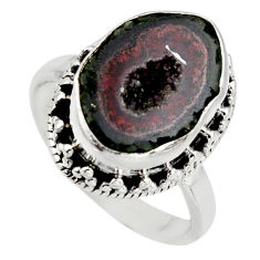 6.02cts natural brown geode druzy 925 silver solitaire ring size 6.5 r12115