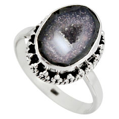 925 silver 6.04cts natural brown geode druzy solitaire ring size 8.5 r12117
