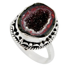 6.31cts natural brown geode druzy 925 silver solitaire ring size 6.5 r12118