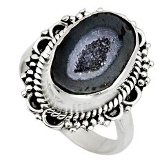 6.31cts natural black geode druzy 925 silver solitaire ring size 7.5 r12122