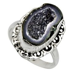 6.10cts natural black geode druzy 925 silver solitaire ring size 7.5 r12123