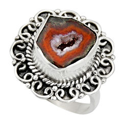 925 silver 6.32cts natural brown geode druzy solitaire ring size 7.5 r12124