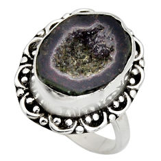 6.31cts natural black geode druzy 925 silver solitaire ring size 7.5 r12126