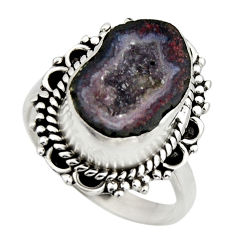 5.52cts natural brown geode druzy 925 silver solitaire ring size 7 r12127