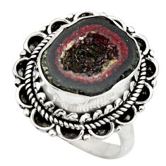 925 silver 6.57cts natural brown geode druzy fancy solitaire ring size 8 r12128