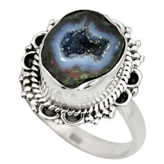 6.31cts natural brown geode druzy 925 silver solitaire ring size 8 r12131