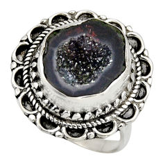 8.03cts natural black geode druzy 925 silver solitaire ring size 8.5 r12134