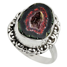 925 silver 6.54cts natural brown geode druzy solitaire ring size 7.5 r12139