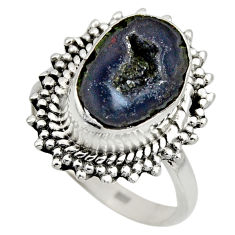 925 silver 6.31cts natural brown geode druzy fancy solitaire ring size 8 r12140