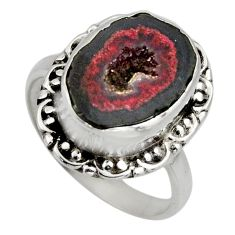 6.58cts natural brown geode druzy 925 silver solitaire ring size 8 r12142