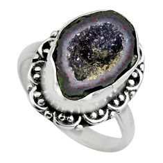 6.04cts natural brown geode druzy 925 silver solitaire ring size 8.5 r12143