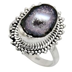 925 silver 6.83cts natural brown geode druzy solitaire ring size 8.5 r12144