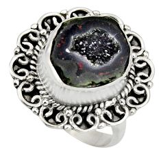 7.58cts natural brown geode druzy 925 silver solitaire ring size 8 r12152
