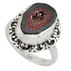 5.84cts natural brown geode druzy 925 silver solitaire ring size 8 r12153