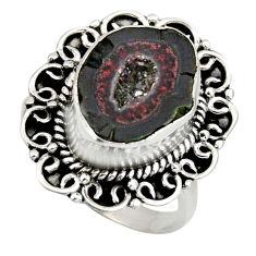 925 silver 7.78cts natural brown geode druzy solitaire ring size 8 r12154