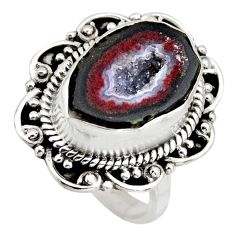 7.22cts natural brown geode druzy 925 silver solitaire ring size 6.5 r12156