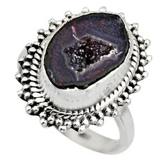 5.52cts natural brown geode druzy 925 silver solitaire ring size 9 r12160