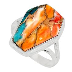 13.15cts spiny oyster arizona turquoise 925 silver solitaire ring size 8 r12274