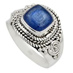2.69cts natural blue kyanite 925 sterling silver solitaire ring size 7 r12409
