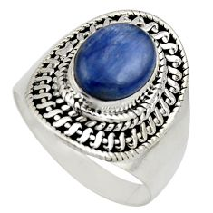 4.71cts natural blue kyanite 925 sterling silver solitaire ring size 8.5 r12418