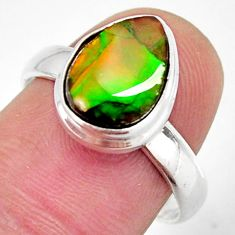 4.22cts natural multi color ammolite 925 silver solitaire ring size 8 r12681