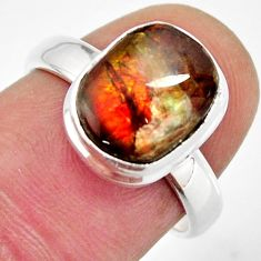 4.42cts natural multi color ammolite 925 silver solitaire ring size 6.5 r12693