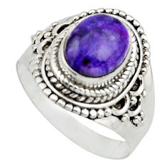 925 silver 4.42cts natural purple charoite oval solitaire ring size 8.5 r12904
