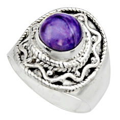 925 silver 3.15cts natural purple charoite solitaire ring jewelry size 7 r12906