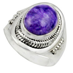 5.30cts natural purple charoite 925 silver solitaire ring size 8.5 r12915