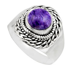925 silver 3.25cts natural purple charoite round solitaire ring size 8 r12917