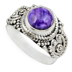 925 silver 2.92cts natural purple charoite round solitaire ring size 7 r12920