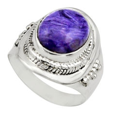 5.53cts natural purple charoite 925 silver solitaire ring size 7 r12929