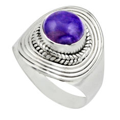 925 silver 3.39cts natural purple charoite round solitaire ring size 7 r12934