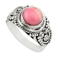 3.01cts natural pink opal 925 sterling silver solitaire ring size 7.5 r12941