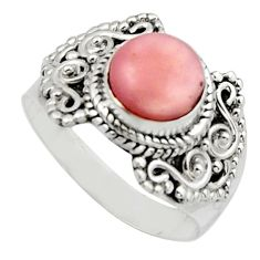 3.25cts natural pink opal 925 sterling silver solitaire ring size 8.5 r12943