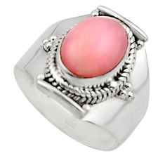 925 sterling silver 4.07cts natural pink opal solitaire ring size 6.5 r12944