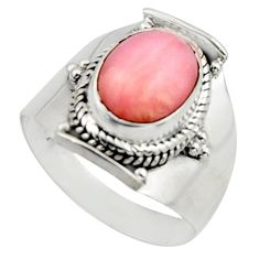 4.30cts natural pink opal 925 sterling silver solitaire ring size 8 r12946